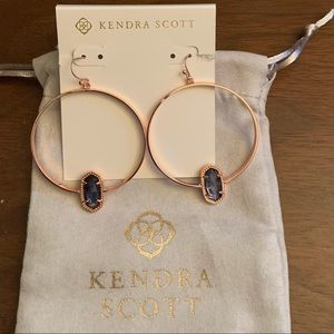 New Rose Gold Elora Hoops in Navy Dusted Glass